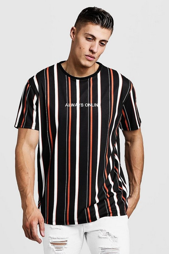 Mens Black Loose Fit Stripe Embroidered T-Shirt