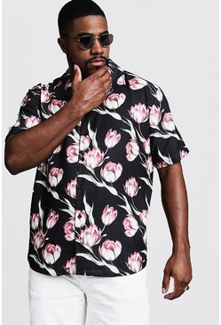 Mens Black Big & Tall Large Floral Print Revere Shirt