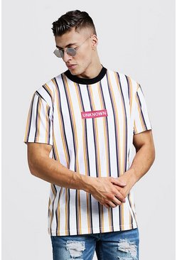 Herr White Extended Neck Loose Fit Embroidered Stripe Tee