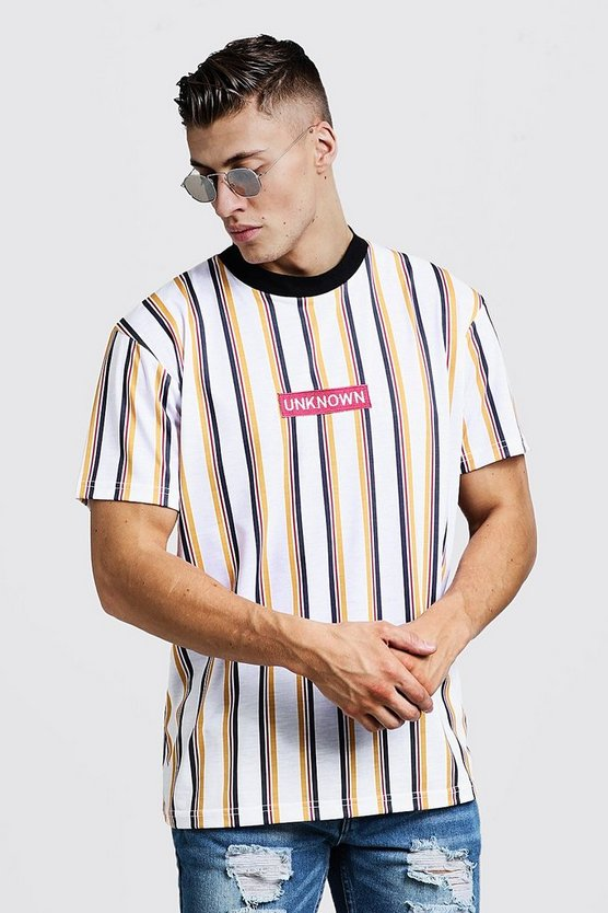 Mens White Extended Neck Loose Fit Embroidered Stripe Tee