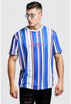 Mens Blue Crew Neck Stripe Embroidered Loose Fit T-Shirt