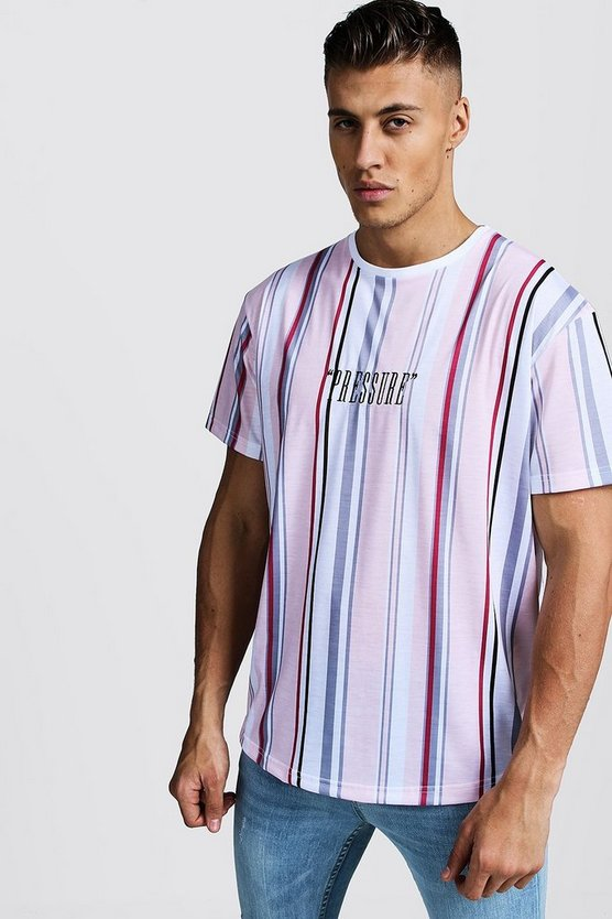 Pink Stripe Loose Fit T-Shirt With Curved Hem & Embroidery