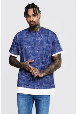 Mens Navy Loose Fit Bandana Print Tee With Faux Layer