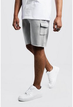 Mens Light grey Mid Length Cargo Jersey Shorts