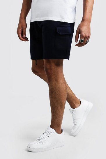 Navy Mid Length Cargo Jersey Shorts
