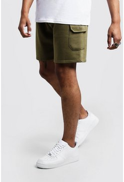 Mens Olive Man Signature Mid Length Cargo Jersey Shorts