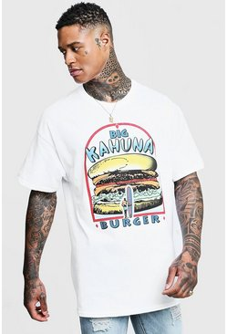"Big Kahuna t-shirt oversize con licenza del film ""Pulp Fiction"", Bianco, Maschio"