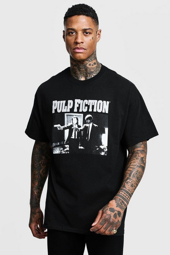 Mens Black Pulp Fiction Mono Print License Oversized T-Shirt