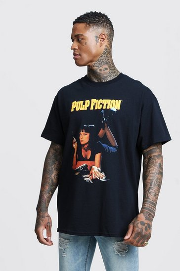 Mens Black Pulp Fiction Mia Licensed Oversized T-Shirt