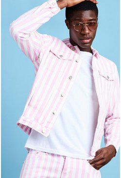 Mens Pink Striped Denim Jacket