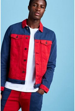 Mens Red Colour Block Denim Jacket