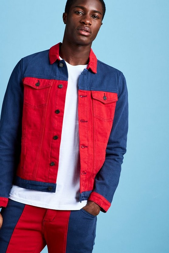 Veste en denim colour block, Rouge, Homme