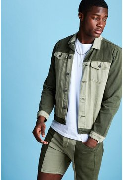 Mens Khaki Colour Block Denim Jacket