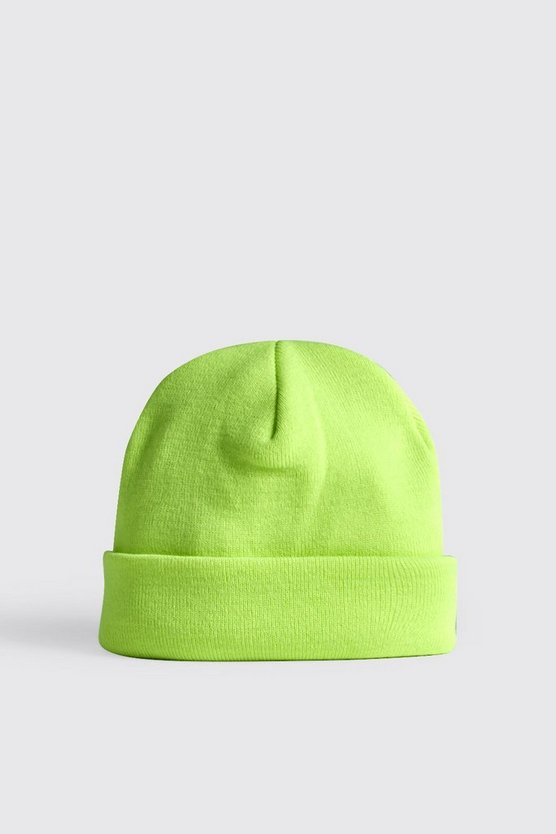 Mens Neon-yellow Neon Knitted Beanie