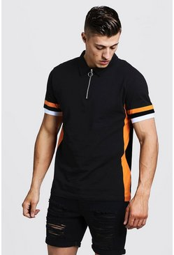 Mens Black Zip Through Polo With Side Colour Block