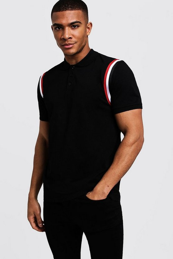 Mens Black Jersey Polo With Shoulder Taping