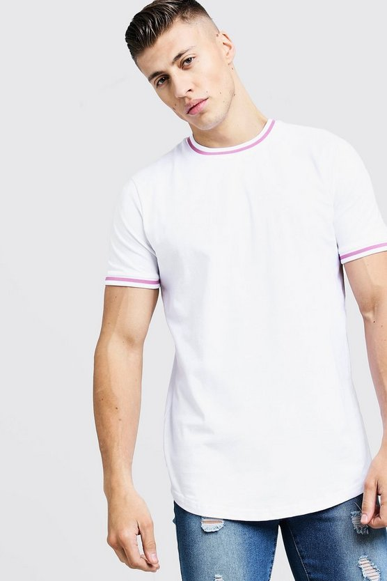 Mens White Crew Neck Ringer Tee With Tape
