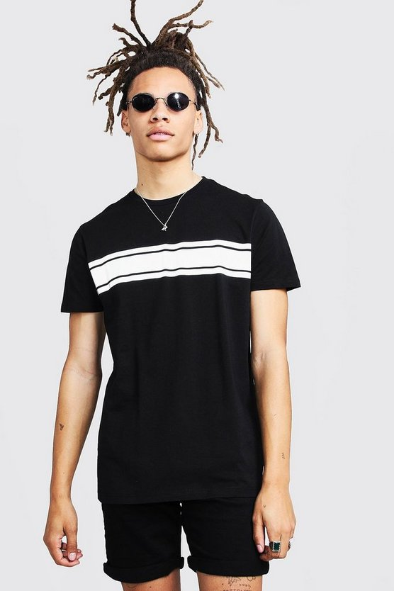 Mens Black Crew Neck T-Shirt With Reflective Print