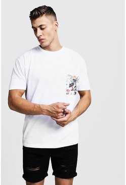 Mens White Loose Fit Crew Neck T-Shirt With Pocket Print