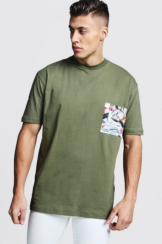 Mens Sage Loose Fit Crew Neck T-Shirt With Pocket Print