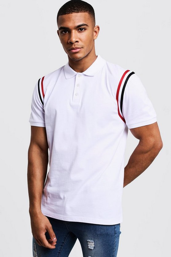 Mens White Jersey Polo With Shoulder Taping