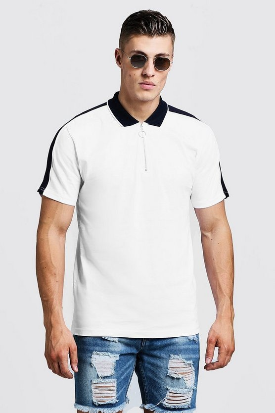 White Zip Through Polo With Shoulder Panel