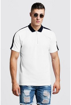 Mens White Zip Through Polo With Shoulder Panel