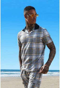 Mens Mustard Revere Collar Jacquard Check Polo