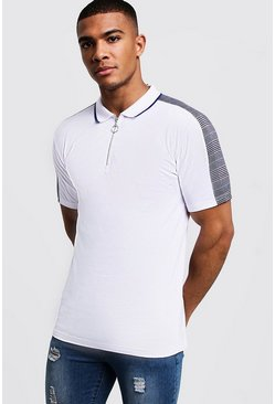 Mens White Muscle Fit Zip Through Polo With Checked Shoulder