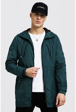 Mens Khaki Light Weight Hooded Parka Jacket