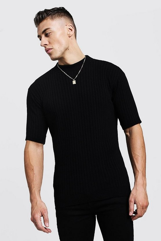 Mens Black Ribbed Short Sleeve Turtle Neck Knitted T-Shirt