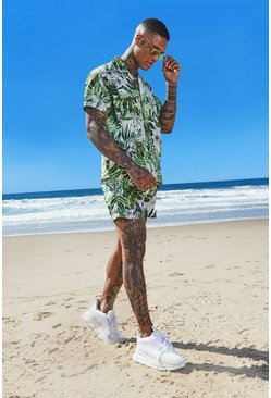 Mens Green Palm Print Shirt & Swim Short Set