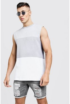 Mens Grey Colour Block Jersey Tank