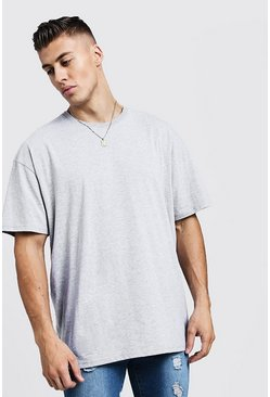 Mens Grey Oversized Crew Neck T-Shirt