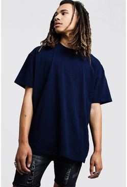 Mens Navy Oversized Crew Neck T-Shirt