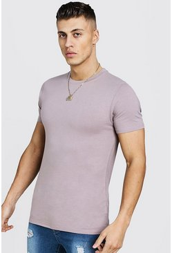Mens Bark Muscle Fit Crew Neck T-Shirt