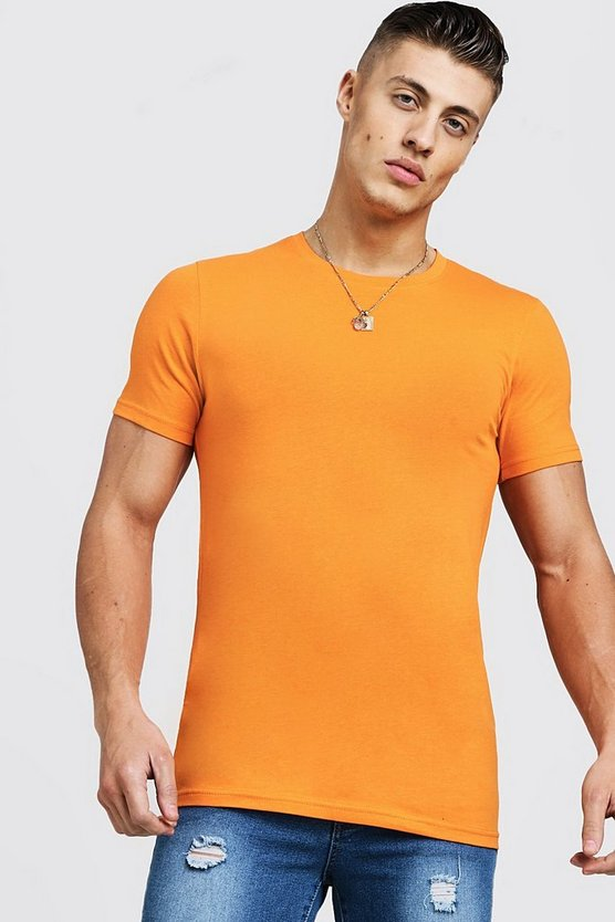 Mens Orange Muscle Fit Crew Neck T-Shirt