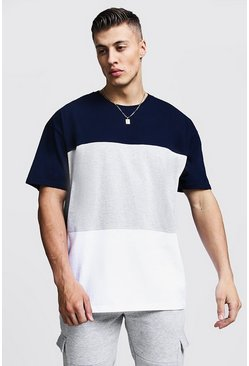 Mens Grey Oversized Colour Block T-Shirt
