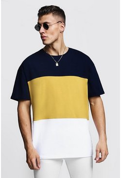 Mens Mustard Oversized Colour Block T-Shirt