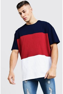 Mens Red Oversized Colour Block T-Shirt