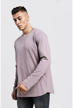 Mens Bark Long Sleeve Longline T-Shirt With Curve Hem