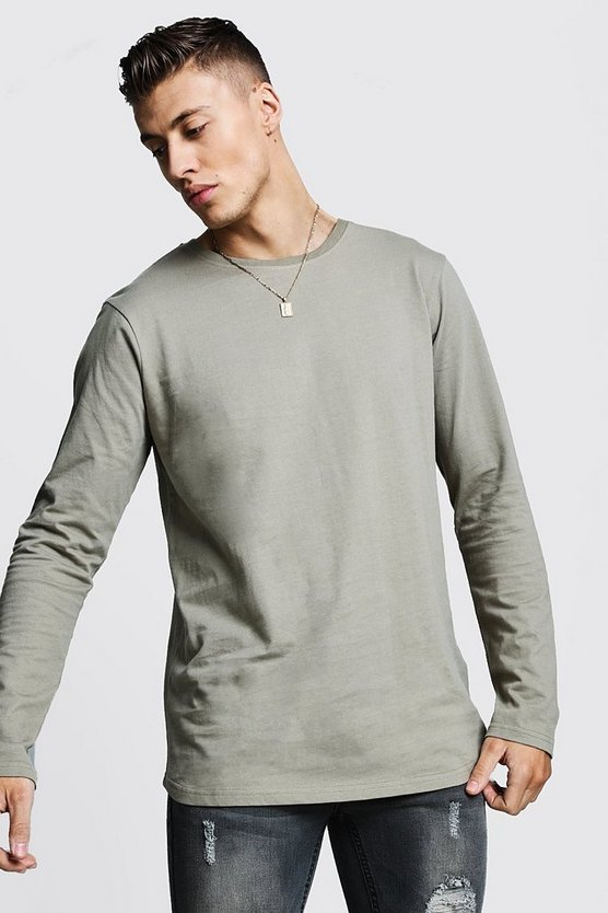 Mens Sage silver Long Sleeve Longline T-Shirt With Curve Hem
