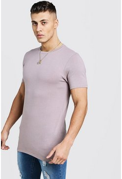 Muscle Fit - T-shirt ultra long, Écorce, Homme