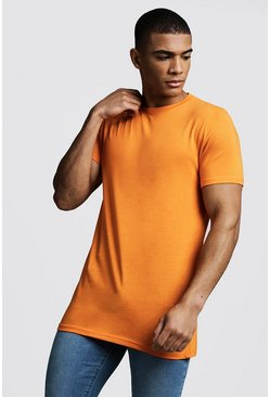Mens Orange Longline Muscle Fit T-Shirt