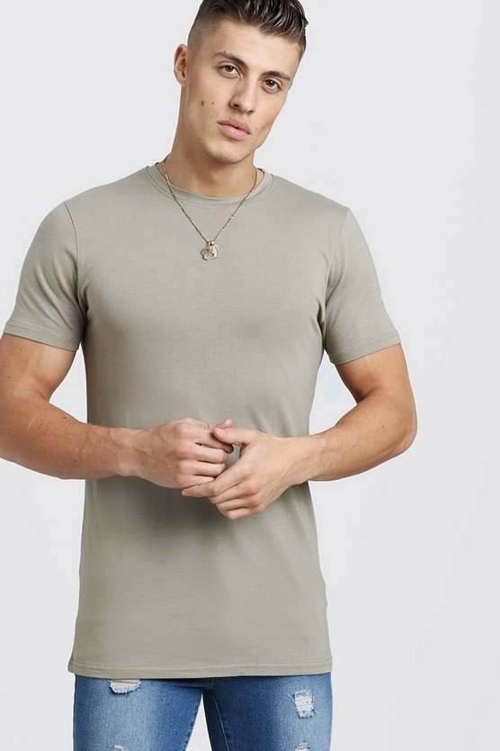Mens Sage silver Longline Muscle Fit T-Shirt