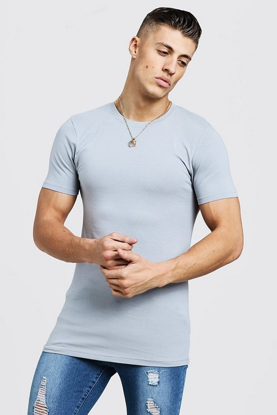 Mens Grey Longline Muscle Fit T-Shirt