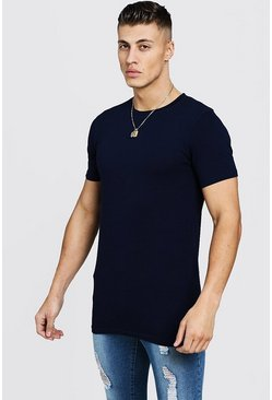 Mens Navy Longline Muscle Fit T-Shirt