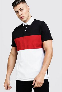 Mens Red Colour Block Short Sleeve Rugby Polo