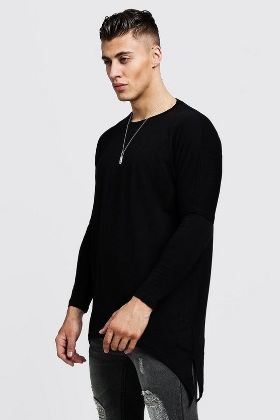 Mens Black Drop Shoulder Faux Sleeve T-Shirt