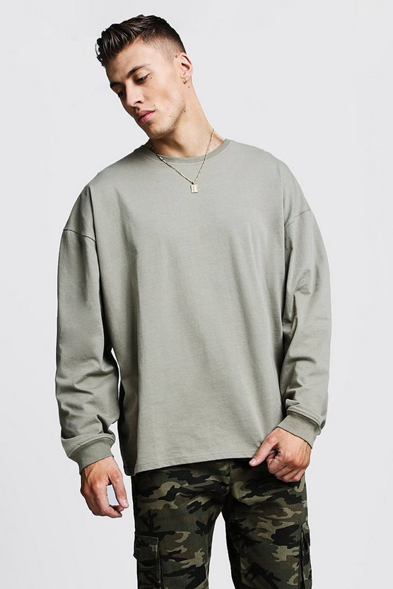 Sage silver Oversized Long Sleeve T-Shirt